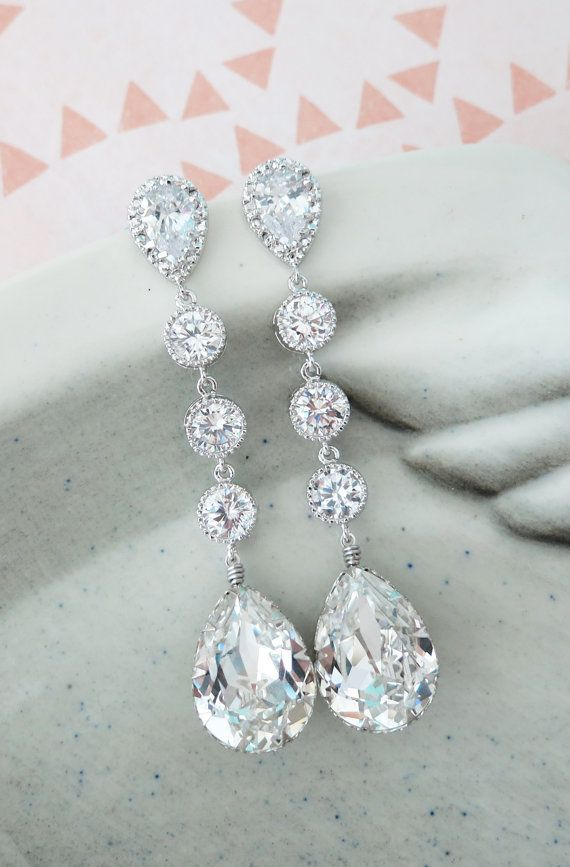 Silver Swarovski Crystal Teardrop Earrings, Bridesmaid Earrings, Bridal Wedding Jewelry, Cubic Zirconia Earrings, white weddings, by GlitzAndLove on Etsy, www.glitzandlove.com