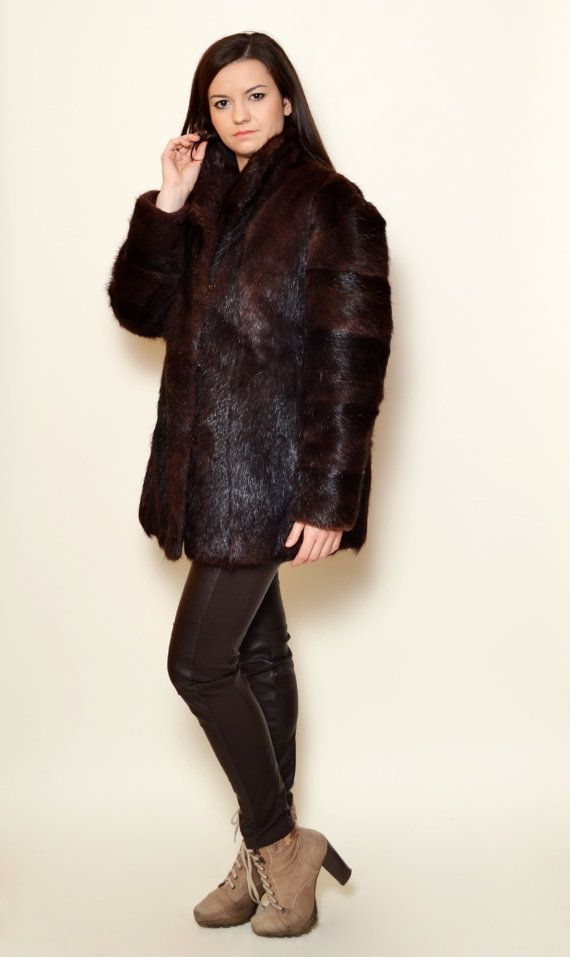 40% Off Xmas Sale Fur Coat 80's Sexy Vintage by SixVintageChicks