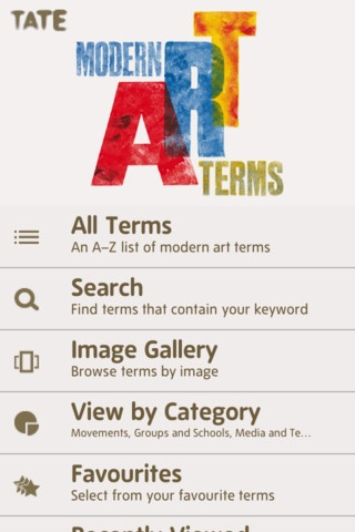Modern Art Terms App. Tate Gallery.