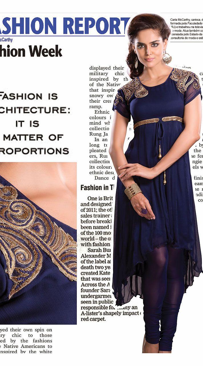 Blue Chiffon Shoulder Embroidered Readymade Stylish Kurti