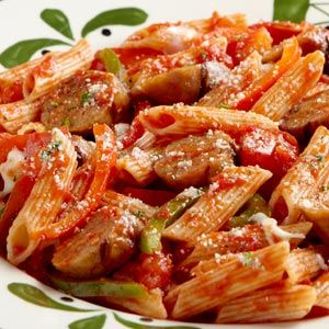 Sweet Italian sausage and roasted red pepper on pasta....♥ http://www.epicurious.com/recipes/member/views/SAUSAGE-AND-ROASTED-PEPPER-PENNE-50175156