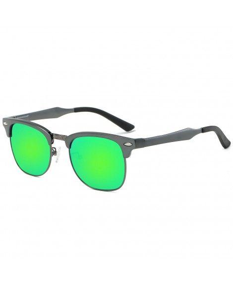 d1c31046ed Square Semi-rimless Clubmaster Al-Mg Polarized Mirrored Driving Sunglasses  - Gun Grey Frame Green Lens