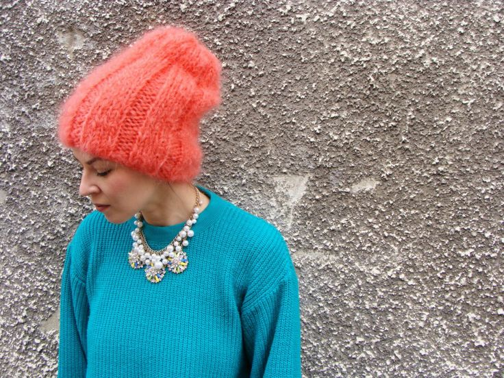 Nudakillers - Mohair Beanie coral, handmade, knitted
