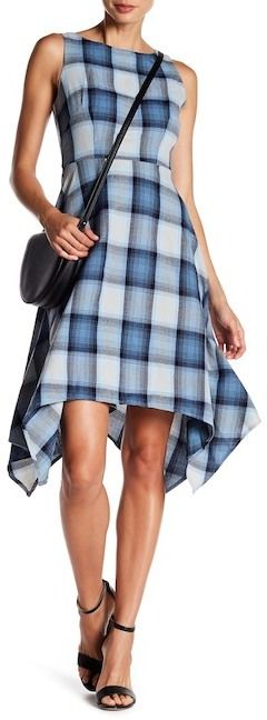 Eva Franco Checkered Sleeveless Asymmetrical Dress