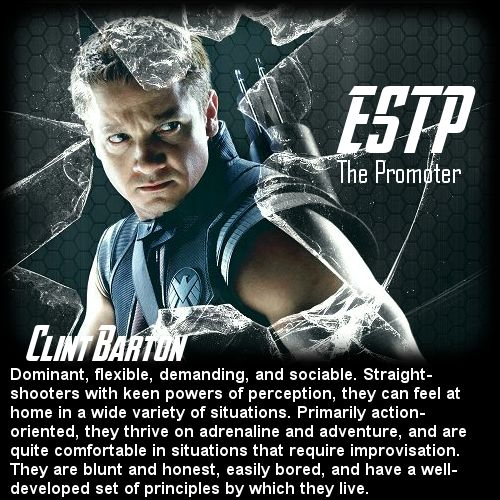 Behind the Mask: The Avengers Personality Chart - Clint Barton [ESTP]