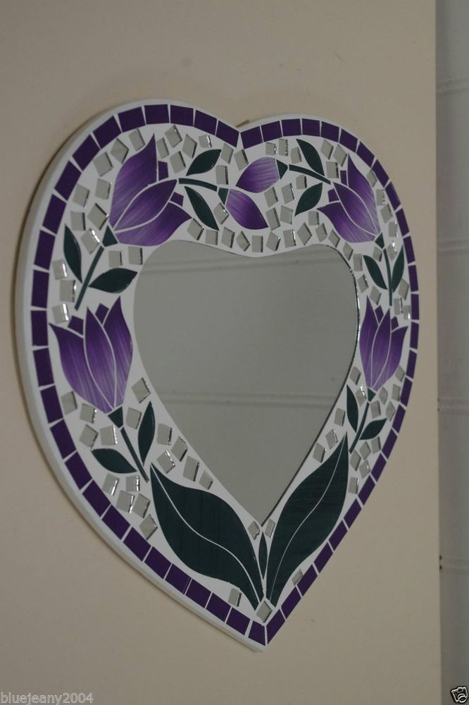 Mosaic Purple Tulip Heart Mirror 30 cm Includes Next Day Delivery