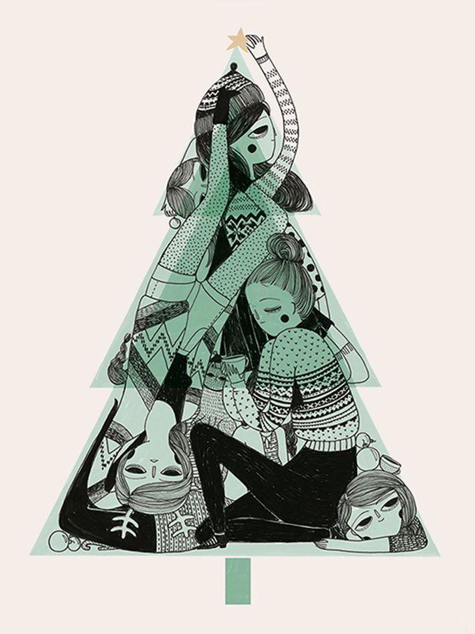 Christmastcard illustrated by Manon Bijkerk, la Nonette, seen on HappyMakersBlog.com