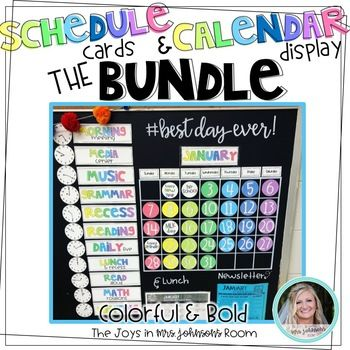 Brighten up your classroom with this bold and colorful display! In this bundle you will find a wall calendar set as well as a schedule card set. Products Included: Bold and Colorful Schedule Cards Bold and Colorful Wall Calendar