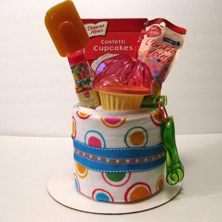 Unique Towel Cakes | Cupcake Baking Kitchen Towel Cake by nobakebakery on Etsy