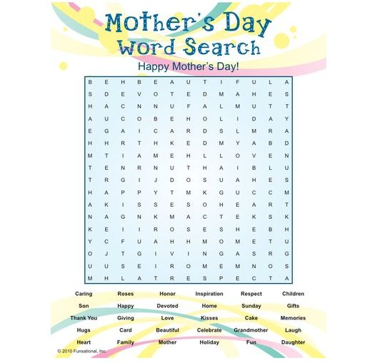 Camping Games Mothers Day Printable