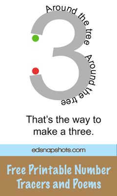 Learning to Write Numbers: FREE rhyming posters.  A large set as well as a set with 4 on a page.