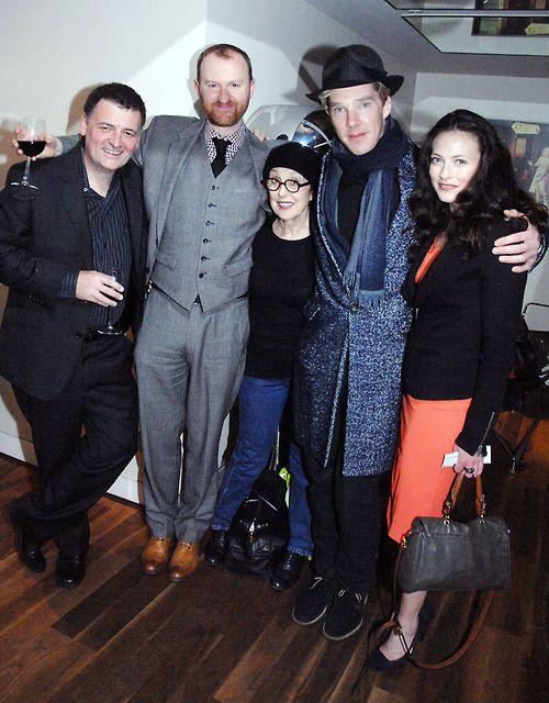 Steven Moffat, Mark Gatiss, Una Stubbs, Benedict Cumberbatch and Lara Pulver after Sherlock: A Scandal in Belgravia screening at the BFI