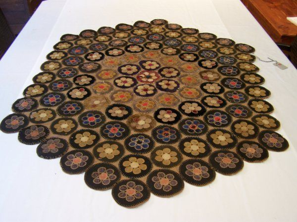 Lot:325: 19th Century Penny Rug, Lot Number:325, Starting Bid:$150, Auctioneer:Midwest Auction Galleries, Inc., Auction:325: 19th Century Penny Rug, Date:03:00 AM PT - May 19th, 2007
