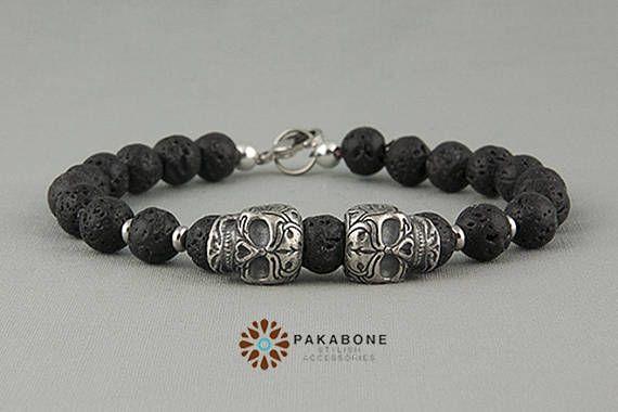 Armband mit Totenkopf und Lava Perlen Armband mit Schädel
