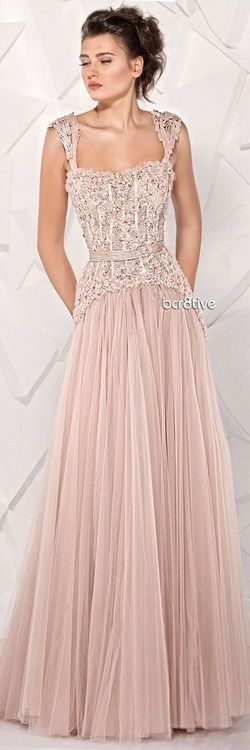 Pale pink evening gown