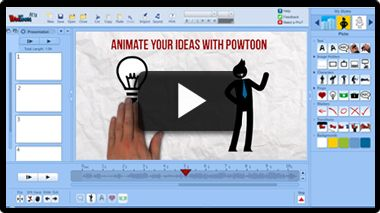 PowToon: PowToon is a brand new presentation tool that allows you to create animated presentations and cartoon style videos just by dragging and dropping.