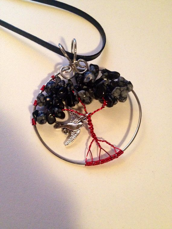 Tree of Life Pendant Necklace Red and Black by BeyondtheWire, $23.61