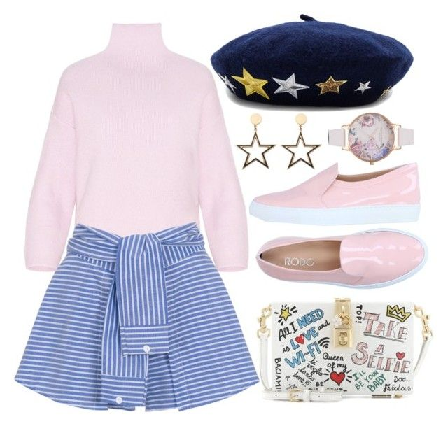 """Star Power"" by khriseus ❤ liked on Polyvore featuring Dolce&Gabbana, WithChic, Rodo, Olivia Burton, Hat Attack and pastelsweaters"