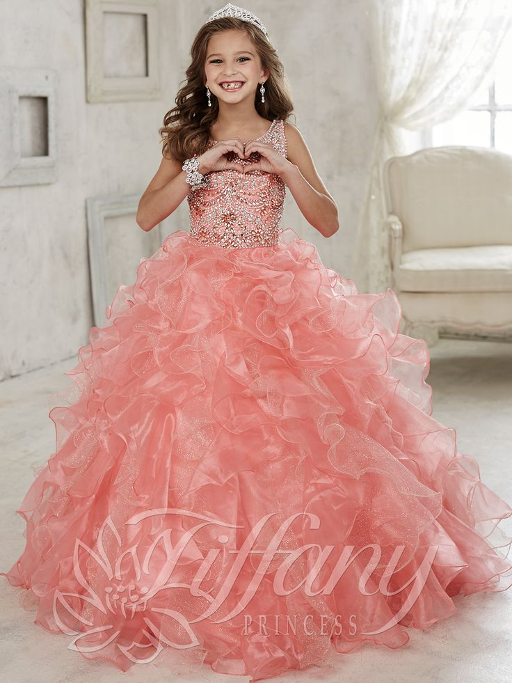 Tiffany Princess 13444 Scoop Neckline Girls Pageant Gown