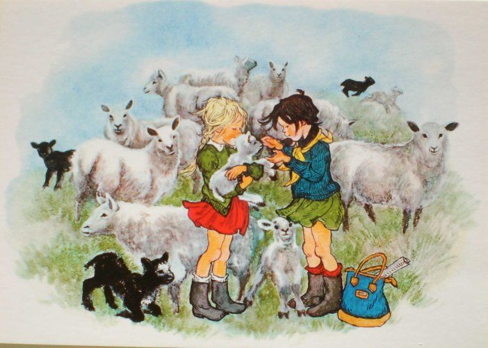 "Girls, Lambs and Sheep illustrated by Ilon Wikland. From the Book ""Vår i Bullerbyn"" / ""Spring in Bullerbyn"" by Astrid Lindgren"