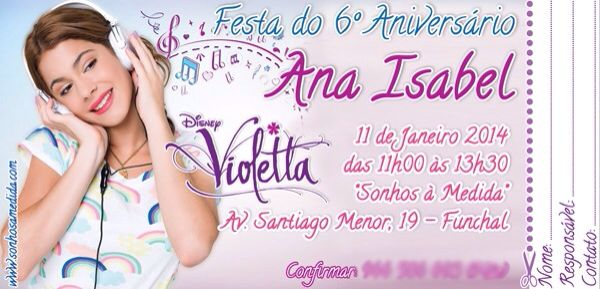 Convite de Aniversário - Violetta: Projects For, Project To, Things To, Coisa Para