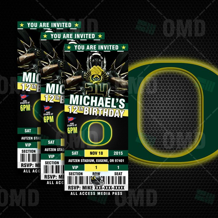 "2.5x6"" Oregon Ducks Sports Party Invitation, Sports Tickets Invites, Oregon Ducks Football Birthday Theme Party Template by sportsinvites on Etsy"