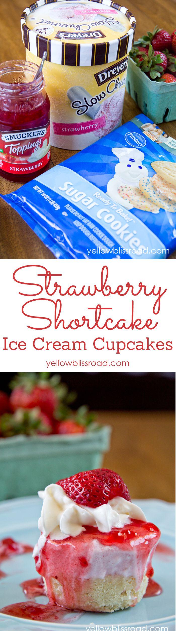 Strawberry Shortcake Ice Cream Cupcakes