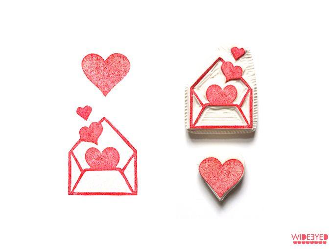 Stempel Set Herzchen // Stamp set hearts by wideeyed via DaWanda.com