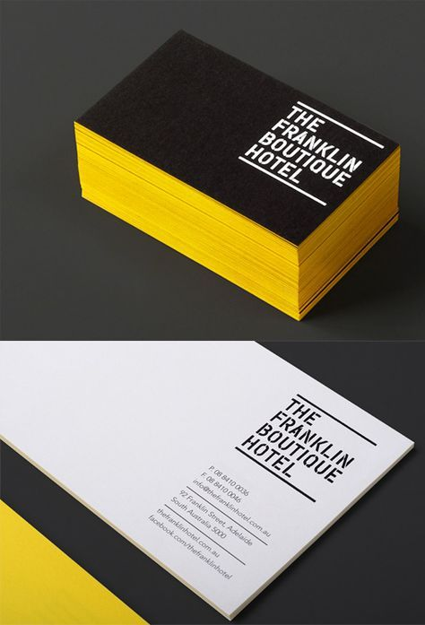 2502 best business cards images on pinterest business cards bold yellow edge painted black business card for a hotel reheart Image collections