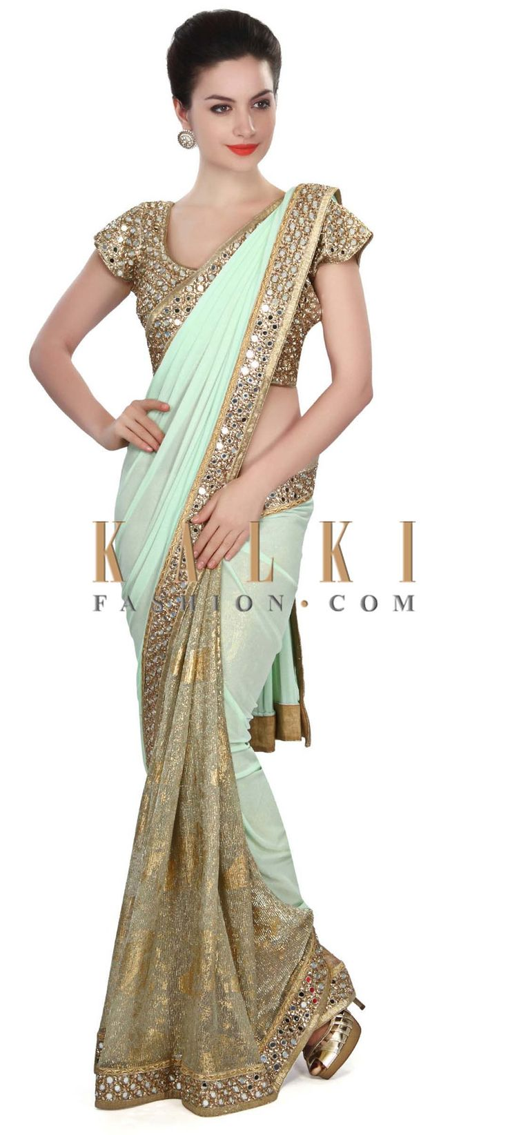 Buy Online from the link below. We ship worldwide (Free Shipping over US$100) Price- $259 Click Anywhere to Tag http://www.kalkifashion.com/half-and-half-saree-in-blue-and-gold-with-mirror-border-only-on-kalki.html