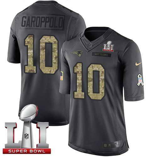 Men's Patriots #10 Jimmy Garoppolo Black Super Bowl LI 51 Stitched NFL Limited 2017 Salute To Service Jersey