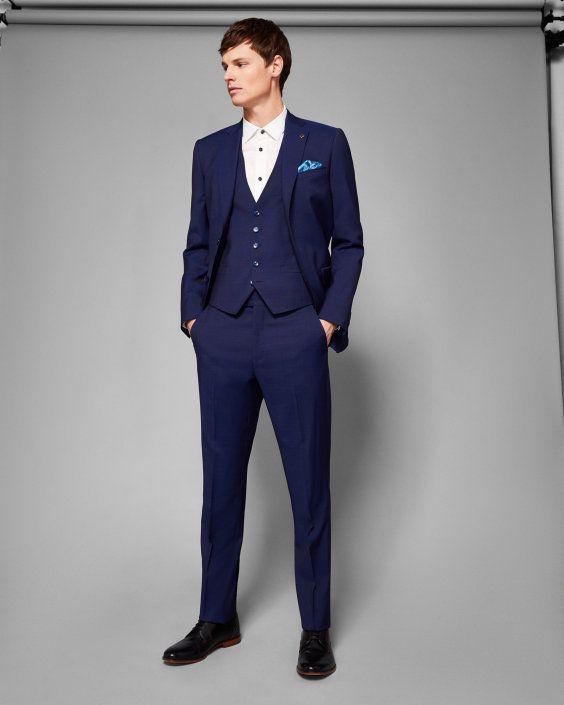 8fc6429f8 Skinny fit plain wool vest - Blue