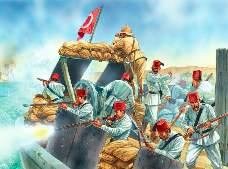 Cañonera británica en el Nilo combatiendo contra las líneas de asedio Mahdist de Khartoum, 1884. El oficial es británico y la tripulación egipcia, armada con el fusil Remington y protegida por sacos de tierra y planchas de metal. En la proa se ha instalado un cañón Krupp de 90 mm. Lámina cortesía de Peter Dennis.
