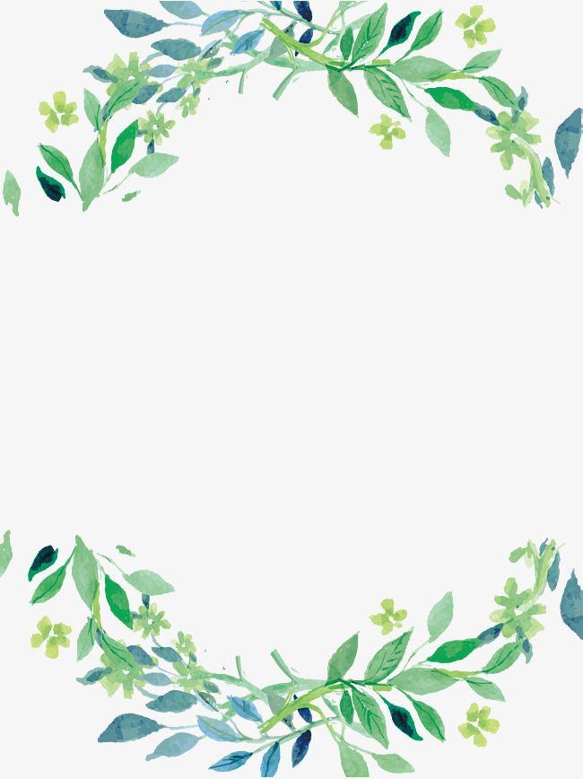 Hand Painted Small Fresh Green Leaf Rectangle Border Cartoon