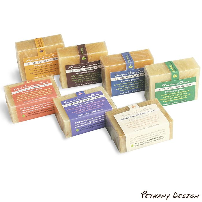 [ Organic Botanical Soap ]  Ingredient: 3 Organic Base Oils, Essential Oil, Dry Herb, Recycled Paper, Biodegradable Plastic. Designed in 2009 for Pethany+Larsen. Made in the United States.