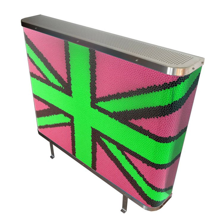 YOYO Mosaic Union Jack radiator cover in Pink and Green (From Modern Radiator Covers and Window Shutters)