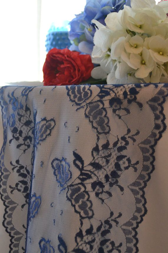 Navy+Lace+Table+Runner+11.5+wide++3FT+16