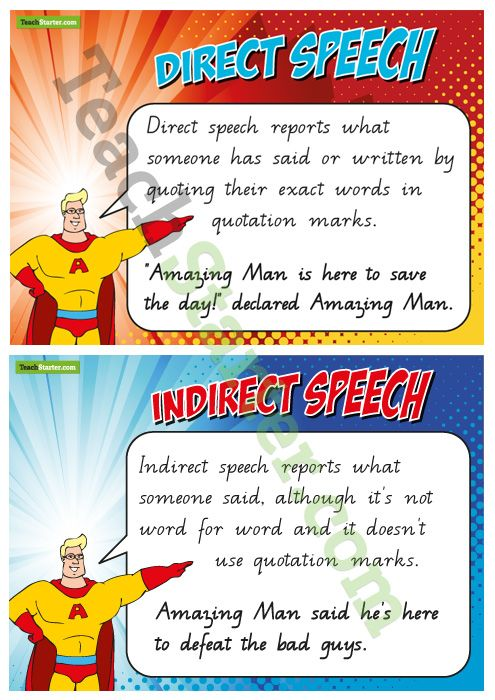 Direct and Indirect Speech Posters | Teach Starter
