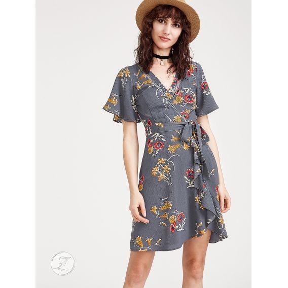 Obrázek pro Kvetované zavinovacie šaty s opaskom