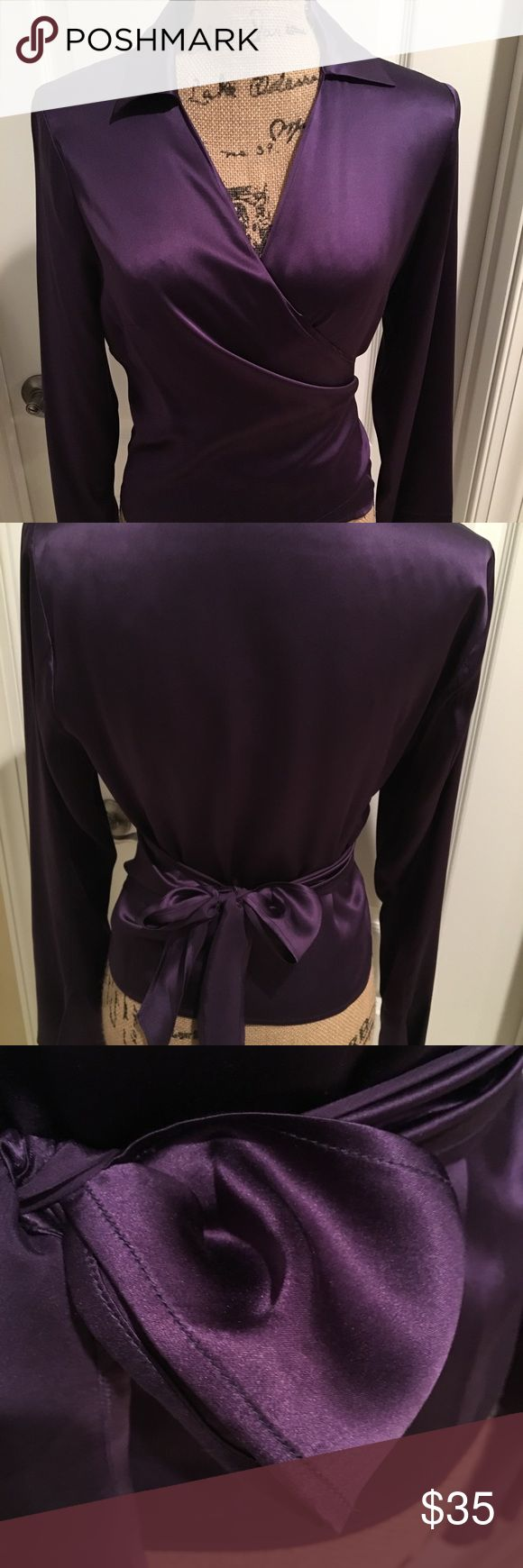 GORGEOUS deep violet silk wrap blouse!!! 💗 This rich jewel-tone 100% silk wrap blouse is simply stunning!  The most elegant shade of purple, it's a true wrap blouse that ties in back and boasts bell sleeve detail. Tops Blouses