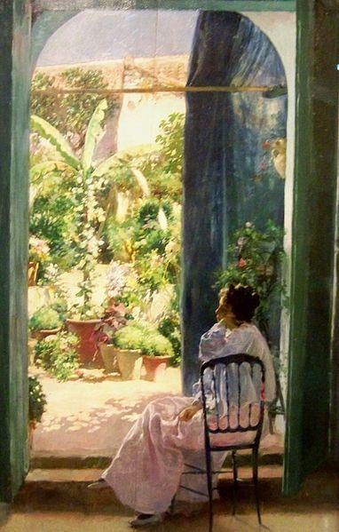 Pereza andaluza, un patio andaluz. 1900. Julio Romero de Torres
