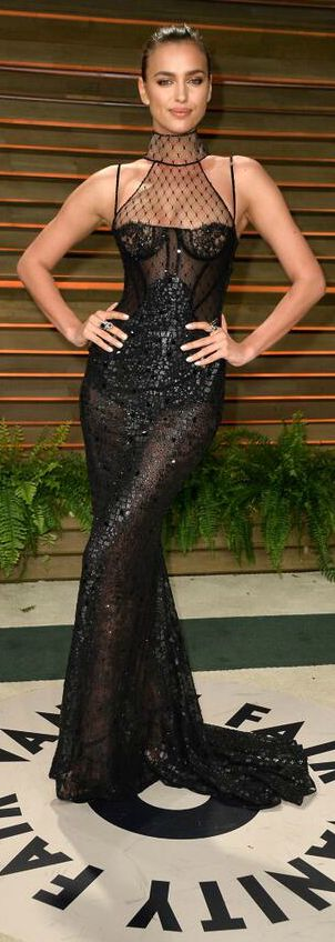 Irina Shayk flawless in a black Versace gown                                                                                                                                                                                 More