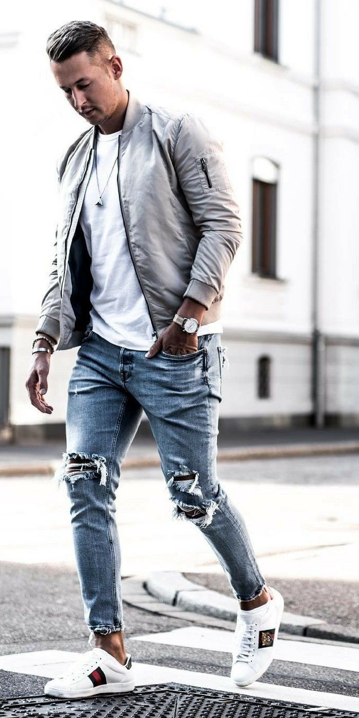 7340324a043db1 Ripped jeans outfit ideas for men #rippedjeans #mensfashion #streetstyle