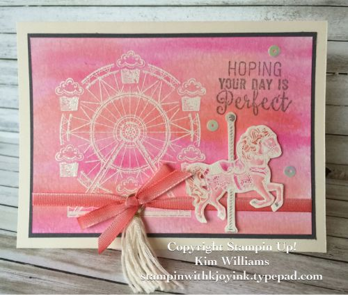 Stampin Up Carousel Birthday stamp set. Watercolor Technique. Kim Williams, Stampin with Kjoyink, Pink Pineapple Paper Crafts. Watercolor Emboss resist technique. Card ideas for birthdays cards or all occasion cards. Occasions catalog 2017.