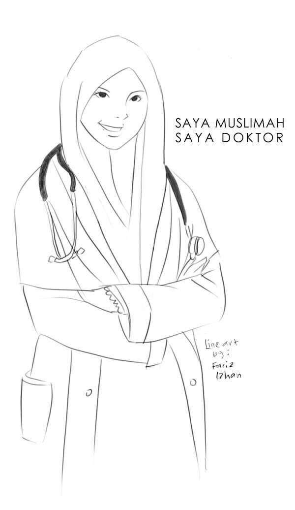 Lukisan Doktor Muslimah Female Sketch Digital Art Art