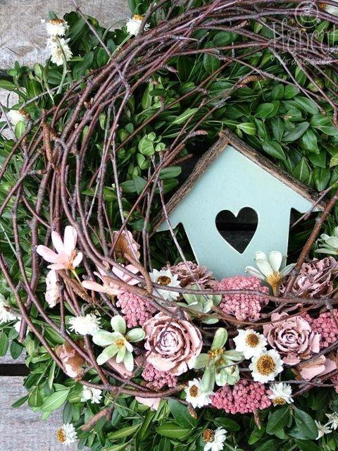 Natural pink-green / Természetes ajtódísz dekoráció