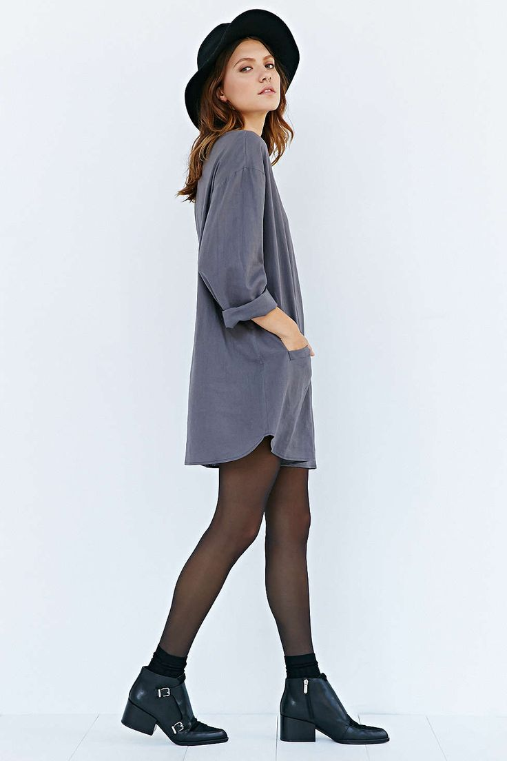 Ecote Cocoon Dress - Urban Outfitters. Grey t-shirt dress, black tights, black boots, fedora hat.