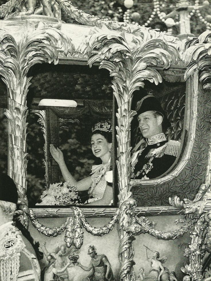 Young Queen Elizabeth and Prince Phillip in the Coronation Coach  National Geographic | September 1953