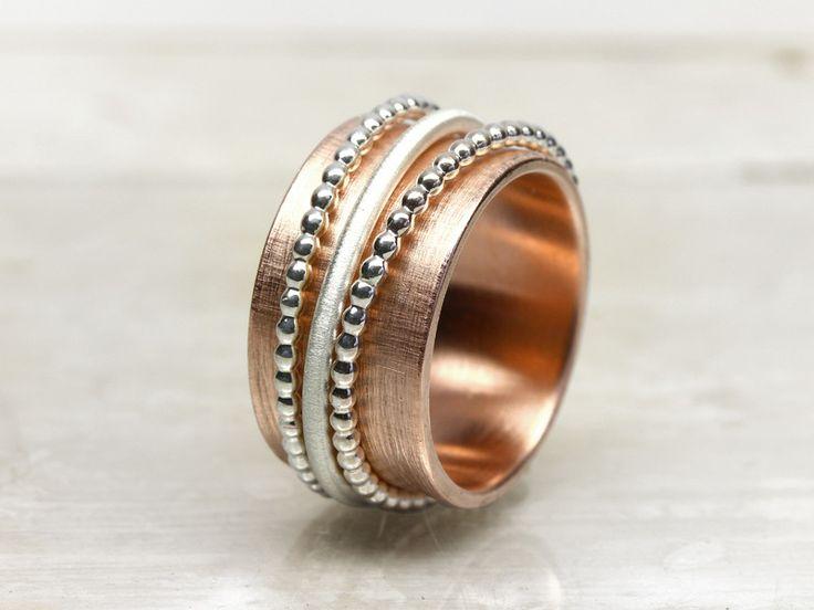 Drehring ROTGOLD #1 mit beweglichen Silberringen von schmucke-sachen auf DaWanda.com