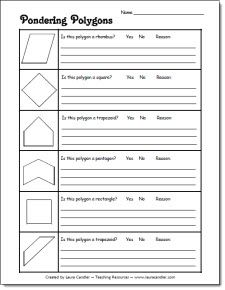 Pondering Polygons freebie from Laura Candler's Geometry File Cabinet